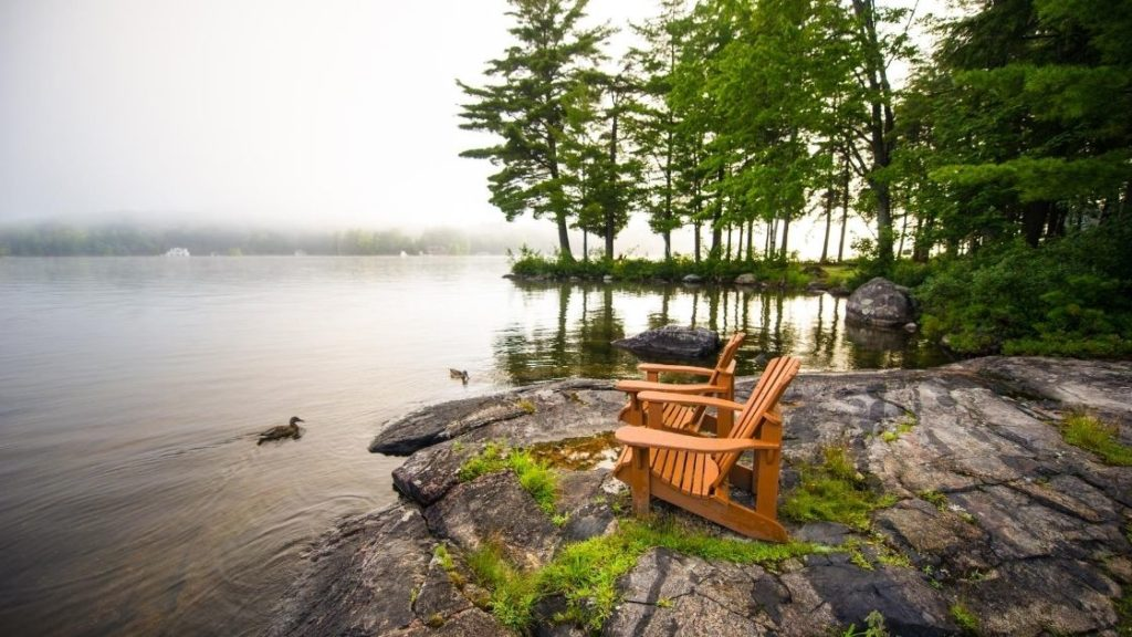 Adirondack Chairs at edge of woods and lake Second Home Austin Asset